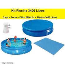 Piscina 3400 Litros + Capa + Forro + Filtro Mor