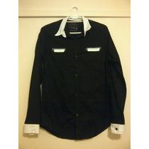 Camisa Negra Cara Cruz Manga Larga M