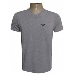 Camisa Empório Armani Cinza Claro Elastano Gola V