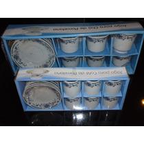 Jogo De Cha E Cafe Xicaras Porcelana Azul C/24 Peças