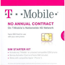 T-mobile Nano Tarjeta Sim De Cualquier Teléfono Gsm Desbloqu