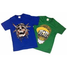 Camiseta Infantil Algodão Estampada Varias Cores E Tamanhos
