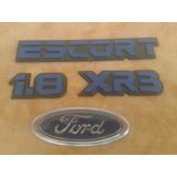 Kit 4 Emblema Escort 1.8 Xr3 + 1 Ford Mala Ano 90 92 Azul