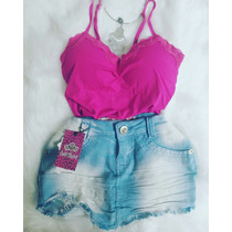 Conjunto Saia Bico Jeans+ Blusinha Blusa Rendada Grátis