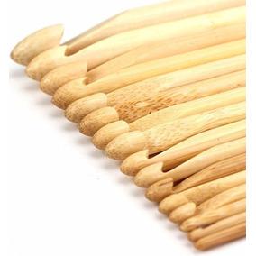 Ganchos Crochet De Bambú Para Tejer Set 16 Piezas Envio Grat