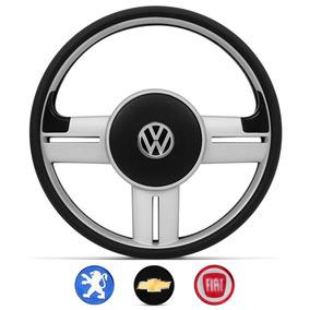 Volante Rallye Prata Emblemas Vw Gm Fiat Peugeot Universal