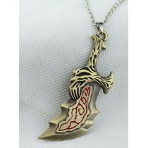 1 Colar Arma Kratos God Of War Dourado Anime Cosplay