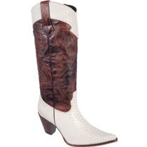 Bota Country Feminina Texana Lady Silver Couro Anaconda Marf