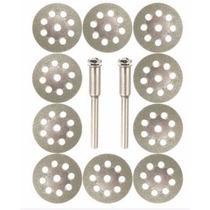 Dremel Discos Corte De Diamante 22mm 10 Piezas+2 Vástagos