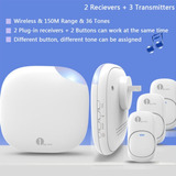 150 M Nos Plug-in Wireless Visitante Timbre Timbre 36