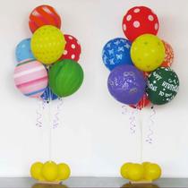Suporte Varetas Que Imitam Gás Hélio Com 2x7 Balões Bexigas