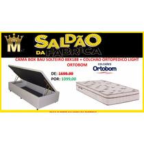 Cama Box Baú Solteiro 088 + Colchãoortopédico Ortobom 12x