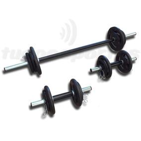 Kit Fitness 30kg Em Anilhas + 3 Barras Pró + Menor Frete!