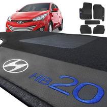 Jogo De Tapete Carpete Automotivo Hb20 Azul Bordado 5 Peças
