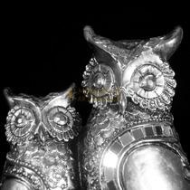Casal Coruja Espelhado Decoração Enfeite Sala Sorte Prata