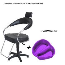 Cadeira Cabeleireiro Base Á Gas + Bacia Para Os Pés + Brinde