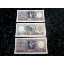 Lote De 3 Billetes De 1 Peso (año 1947)