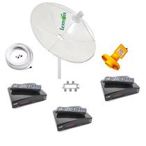 Antena Parabolica Chapa C/ 3 Receptores Digital Sd Analógico