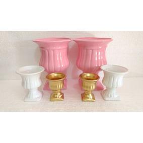 Kit Decoração Festa Em Cerâmica Dourado/branco E Rosa !!!!