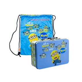 Lancheira Minions Maleta Metal Bolsa Malvado Favorito Azul
