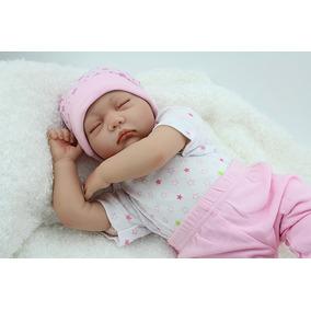 55 Cm Silicone Bebês Reborn Bonecas Olhos Fechados Lifelike