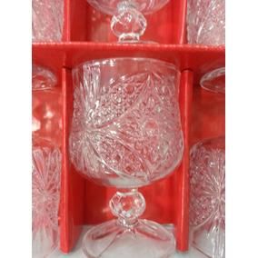 Set 12 Copa Vino Agua Vidrio Transparente Labrada Redondeada