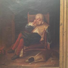 Pintura Al Óleo Siglo Xlx, Viejo Descansando .