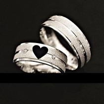Par De Aliança Coração Vazado Aço Inox Cirúrgico 7mm Namoro