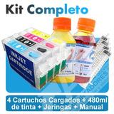 Cartuchos Autoreset Epson +480ml D Tinta - C Cx T Tx Wf R Nx