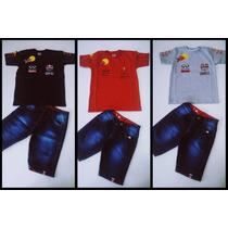 Conjunto Infantil Camiseta Red Bull E Bermuda Jeans Masculin