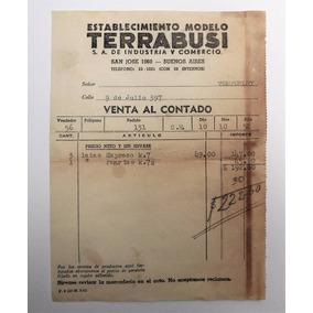 Antigua Boleta Terrabusi Venta De Latas De Galletitas 1952