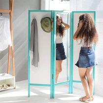 Biombo Ammy Com Espelho E 3 Asas Em Mdf Branco / Turquesa
