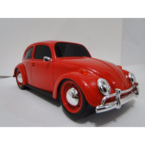 Lindo Fusca Vermelho Brinquedo Pneus Borracha Volkswagen