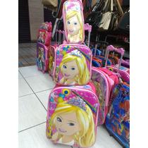 Mochila+lancheira+estojo Barbie 3d Infantil Rodinha Escolar
