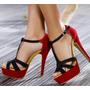 Zapatos Mujer Sandalias Plataforma Tacones Rojas Pedido!