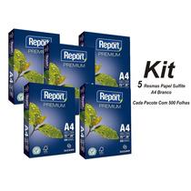 Papel Sulfite A4 Branco 75grs - Kit 5 Pacotes 500folhas Cada