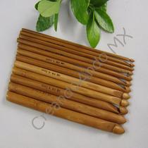 Juego De Ganchos Crochet Bambú 12 Piezas