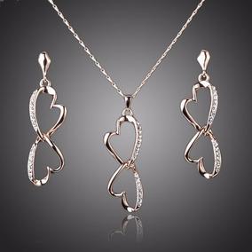 Elegante Set Swarovski De Collar Y Aretes Chapa De Oro 18k