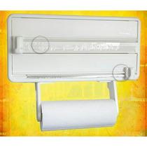 Suporte Papel Porta Rolo Toalha Aluminio Filme Cozinha 3 X 1