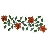 Tela Moldura De Parede C/ Flores Artificiais Decoração Ferro