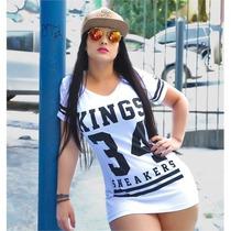 Camiseta Mini Vestido Feminina King 34 Sneakers Kings Top