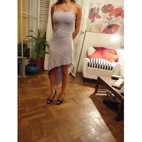 Vestido Lila Y Blanco Tucci Talle S Ruedo Irregular