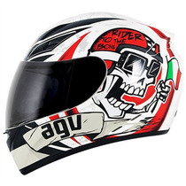 Capacete Agv K3 Rider To The Bone Branco + Viseira Colorida