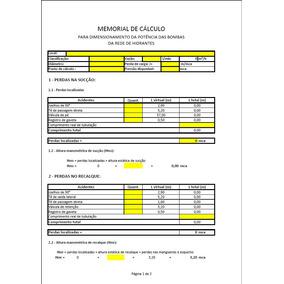 Planilha De Excel - Calculo Hidráulico, Hidrantes