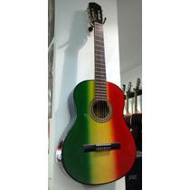 Guitarra Criolla Reggae (rasta) Con Funda Acolchada Y Púas