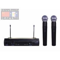 Microfone Duplo Uhf Sem Fio Profissional Padrão Shure Sm 58