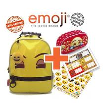 Combo Emoji - Mochila 14 Plg + Cartuchera 3d + Carpeta + Eti
