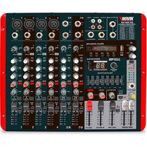 Mesa De Som Amplificada 8 Canais Mixer Nvk800p Usb Novik