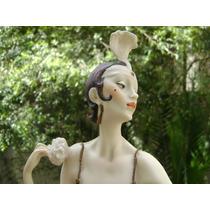Gran Figura Art Deco Armani Porcelana Capodimonte Italiana