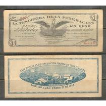 Si-coa-1 Billete De Coahuila De 1 Peso